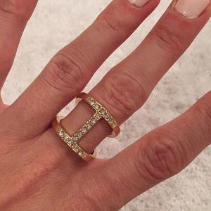 Double Bar Ring- Rhinestone & Gold